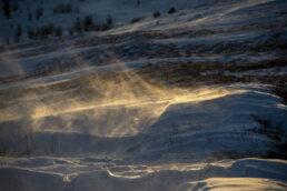 warsztaty fotograficzne w Bieszczadach złocisty pył śnieżny o wschodzie na połoninach