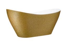 fotografia produktowa Rzeszów złota brokatowa stylowa wanna wolno stojąca z Besco na białym tle produkt do kupienia